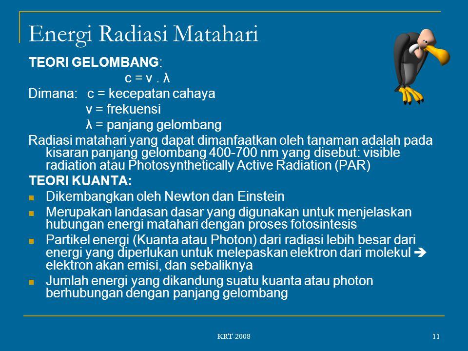 KRT-2008 11 Energi Radiasi Matahari TEORI GELOMBANG: c = v.