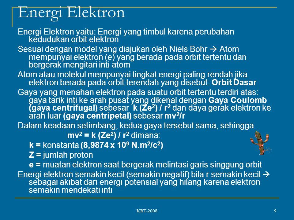KRT-2008 9 Energi Elektron Energi Elektron yaitu: Energi yang timbul karena perubahan kedudukan orbit elektron Sesuai dengan model yang diajukan oleh Niels Bohr  Atom mempunyai elektron (e) yang berada pada orbit tertentu dan bergerak mengitari inti atom Atom atau molekul mempunyai tingkat energi paling rendah jika elektron berada pada orbit terendah yang disebut: Orbit Dasar Gaya yang menahan elektron pada suatu orbit tertentu terdiri atas: gaya tarik inti ke arah pusat yang dikenal dengan Gaya Coulomb (gaya centrifugal) sebesar k (Ze 2 ) / r 2 dan daya gerak elektron ke arah luar (gaya centripetal) sebesar mv 2 /r Dalam keadaan setimbang, kedua gaya tersebut sama, sehingga mv 2 = k (Ze 2 ) / r 2 dimana: k = konstanta (8,9874 x 10 9 N.m 2 /c 2 ) Z = jumlah proton e = muatan elektron saat bergerak melintasi garis singgung orbit Energi elektron semakin kecil (semakin negatif) bila r semakin kecil  sebagai akibat dari energi potensial yang hilang karena elektron semakin mendekati inti
