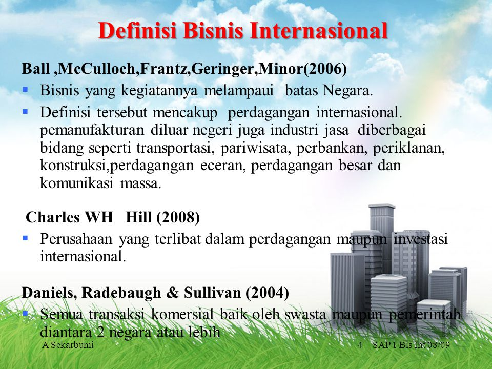SAP 1 Bis Int 08/09A Sekarbumi4 Definisi Bisnis Internasional Ball,McCulloch,Frantz,Geringer,Minor(2006)  Bisnis yang kegiatannya melampaui batas Neg