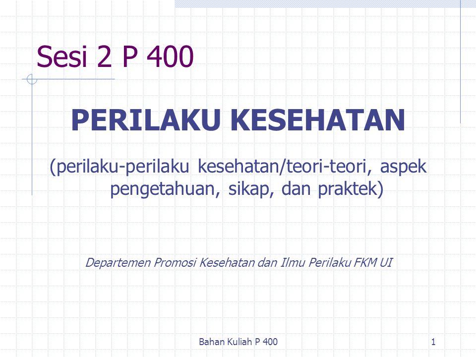 Bahan Kuliah P 4001 Sesi 2 P 400 PERILAKU KESEHATAN (perilaku-perilaku kesehatan/teori-teori, aspek pengetahuan, sikap, dan praktek) Departemen Promos