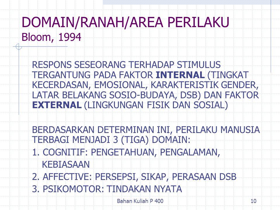 Bahan Kuliah P 40010 DOMAIN/RANAH/AREA PERILAKU Bloom, 1994 RESPONS SESEORANG TERHADAP STIMULUS TERGANTUNG PADA FAKTOR INTERNAL (TINGKAT KECERDASAN, E