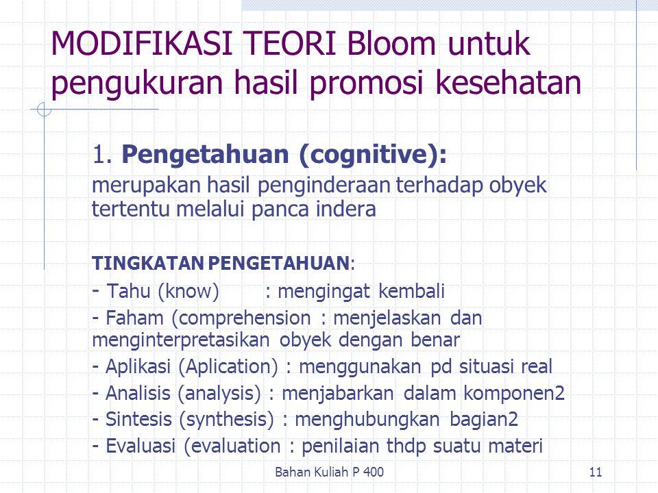 Bahan Kuliah P 40011 MODIFIKASI TEORI Bloom untuk pengukuran hasil promosi kesehatan 1. Pengetahuan (cognitive): merupakan hasil penginderaan terhadap