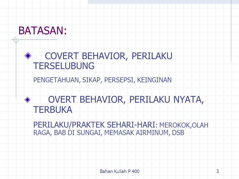 Bahan Kuliah P 4003 BATASAN: COVERT BEHAVIOR, PERILAKU TERSELUBUNG PENGETAHUAN, SIKAP, PERSEPSI, KEINGINAN OVERT BEHAVIOR, PERILAKU NYATA, TERBUKA PER