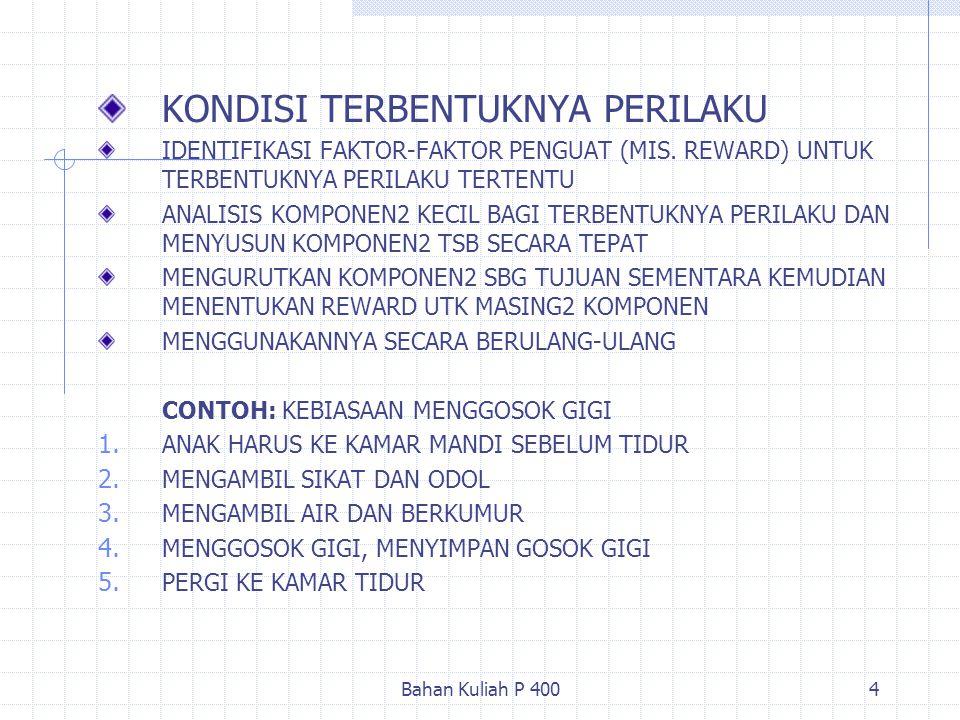 Bahan Kuliah P 4004 KONDISI TERBENTUKNYA PERILAKU IDENTIFIKASI FAKTOR-FAKTOR PENGUAT (MIS. REWARD) UNTUK TERBENTUKNYA PERILAKU TERTENTU ANALISIS KOMPO