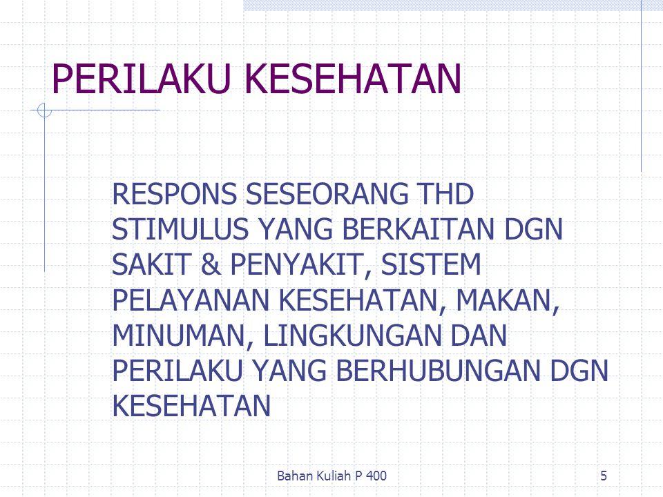 Bahan Kuliah P 4005 PERILAKU KESEHATAN RESPONS SESEORANG THD STIMULUS YANG BERKAITAN DGN SAKIT & PENYAKIT, SISTEM PELAYANAN KESEHATAN, MAKAN, MINUMAN,
