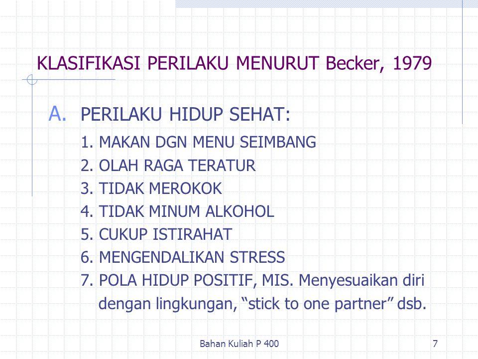 Bahan Kuliah P 4007 KLASIFIKASI PERILAKU MENURUT Becker, 1979 A. PERILAKU HIDUP SEHAT: 1. MAKAN DGN MENU SEIMBANG 2. OLAH RAGA TERATUR 3. TIDAK MEROKO