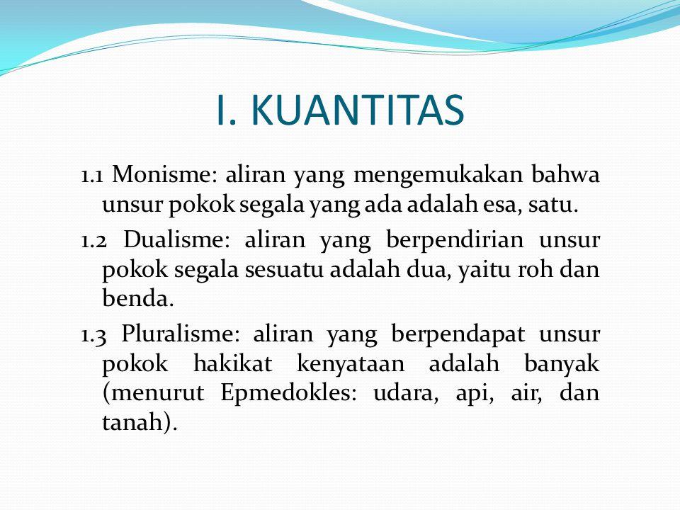 I. KUANTITAS 1.1 Monisme: aliran yang mengemukakan bahwa unsur pokok segala yang ada adalah esa, satu. 1.2 Dualisme: aliran yang berpendirian unsur po