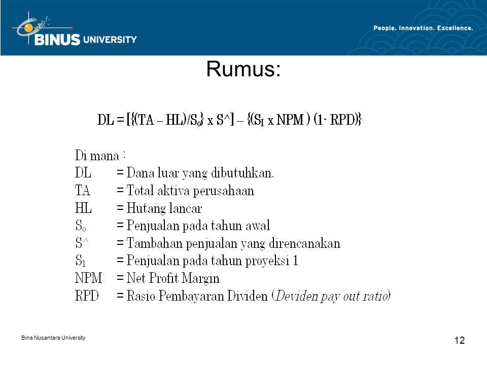 Rumus: Bina Nusantara University 12