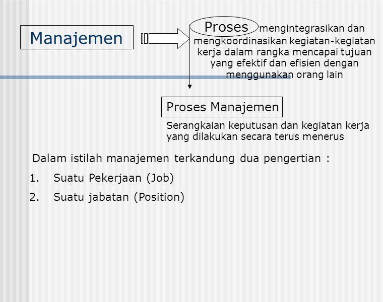 Manajemen Proses mengintegrasikan dan mengkoordinasikan kegiatan-kegiatan kerja dalam rangka mencapai tujuan yang efektif dan efisien dengan menggunak
