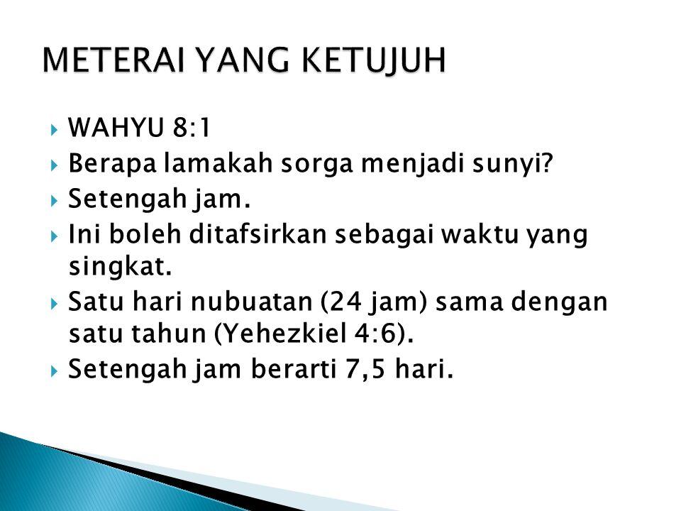  WAHYU 8:1  Berapa lamakah sorga menjadi sunyi. Setengah jam.