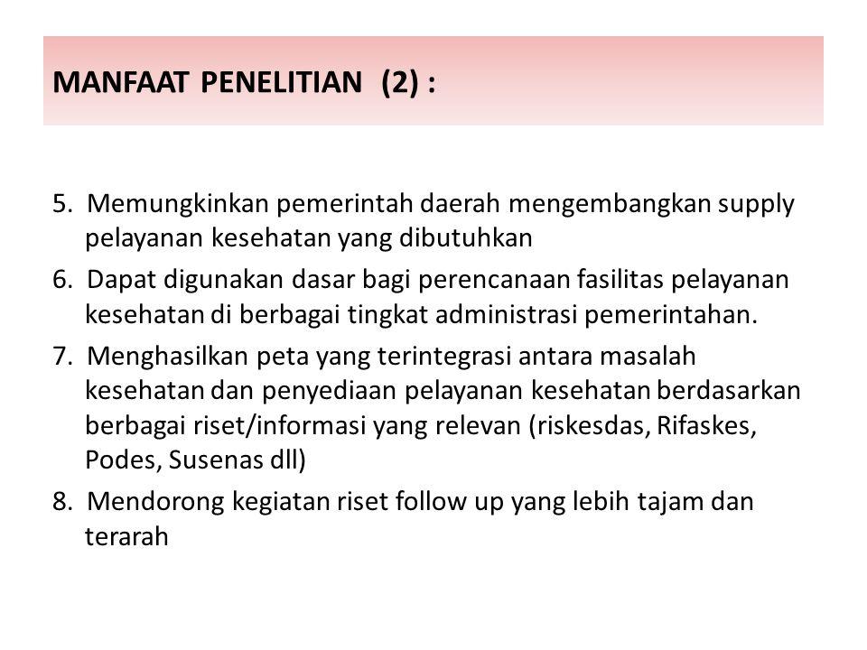 MANFAAT PENELITIAN (2) : 5.