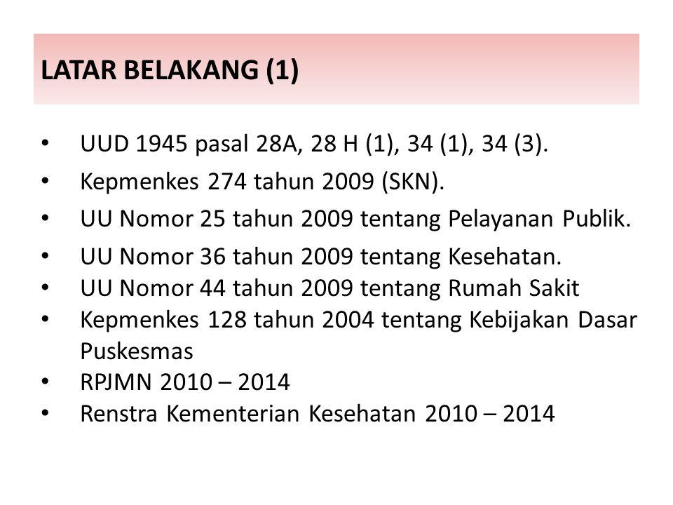METODE PENELITIAN (2) SAMPEL STUDI Tahap I : Data Dasar Seluruh RS Pemerintah dan Swasta, puskesmas, dan laboratorium pelayanan mandiri di Indonesia (Sensus).