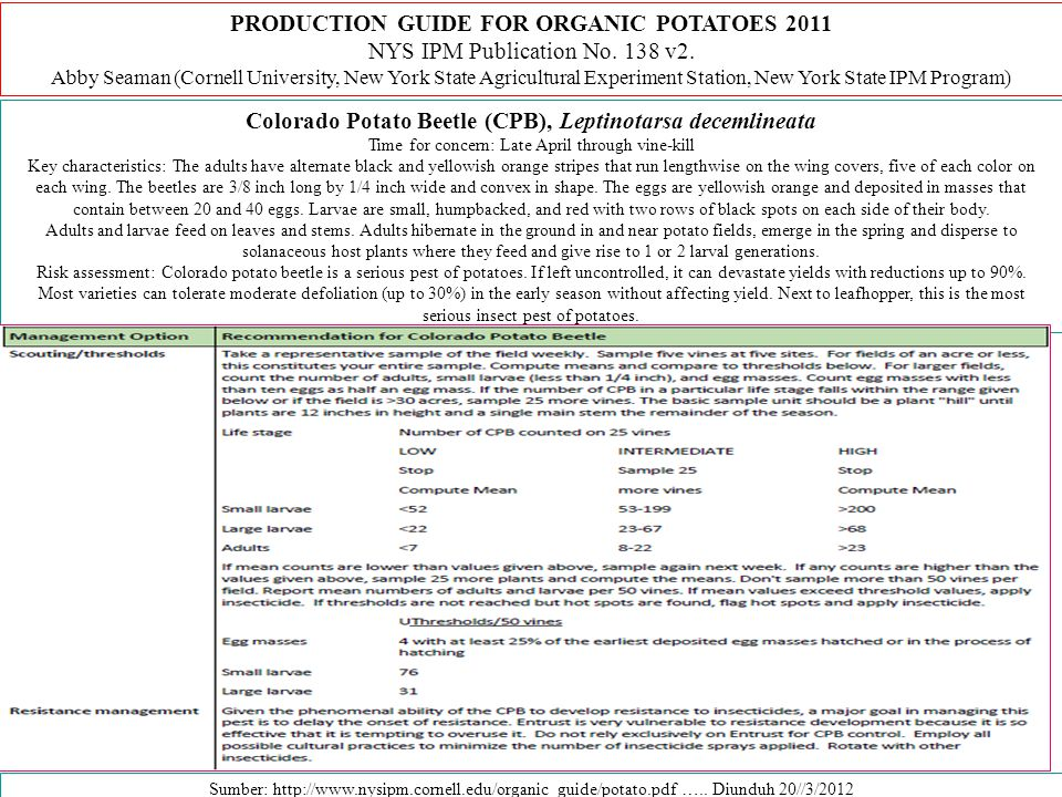 PRODUCTION GUIDE FOR ORGANIC POTATOES 2011 NYS IPM Publication No.