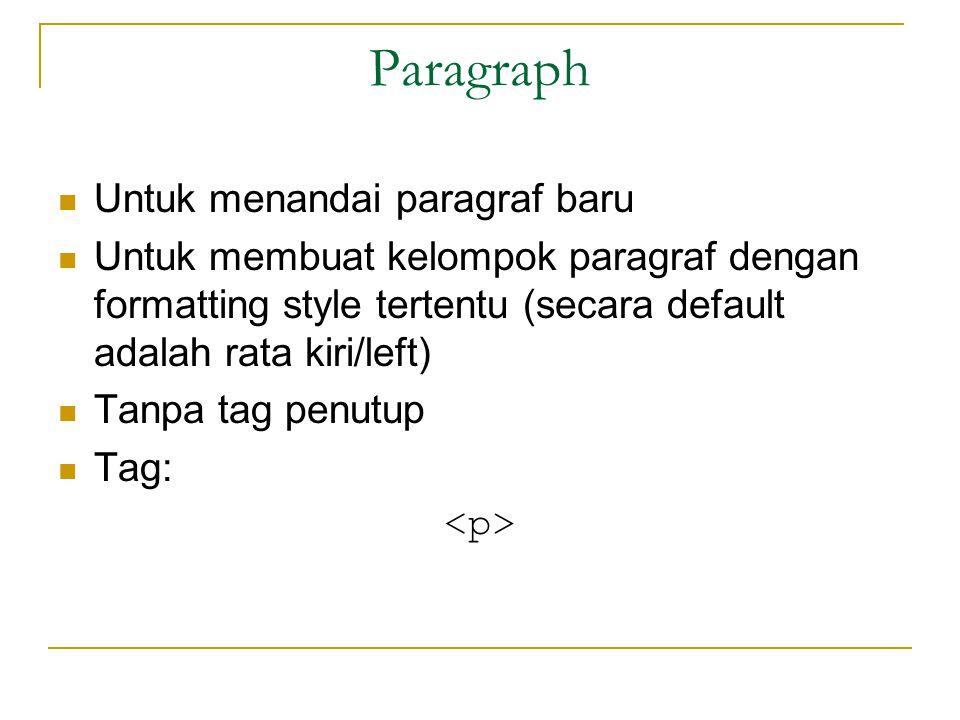 Paragraph Untuk menandai paragraf baru Untuk membuat kelompok paragraf dengan formatting style tertentu (secara default adalah rata kiri/left) Tanpa tag penutup Tag: