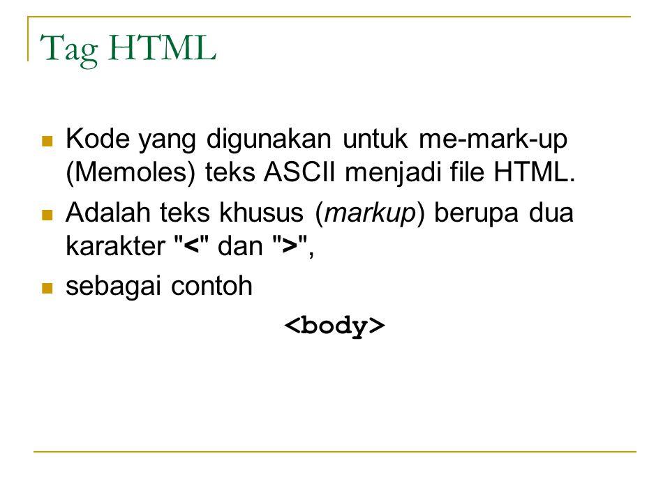 Tag HTML Kode yang digunakan untuk me-mark-up (Memoles) teks ASCII menjadi file HTML.
