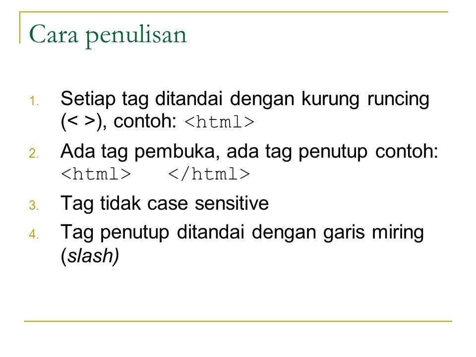 Cara penulisan 1.Setiap tag ditandai dengan kurung runcing ( ), contoh: 2.