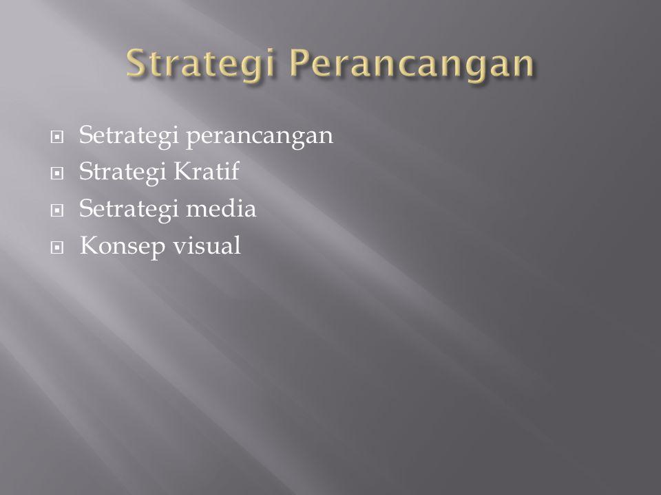  Setrategi perancangan  Strategi Kratif  Setrategi media  Konsep visual