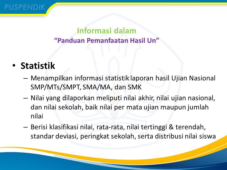 """Informasi dalam """"Panduan Pemanfaatan Hasil Un"""" Statistik – Menampilkan informasi statistik laporan hasil Ujian Nasional SMP/MTs/SMPT, SMA/MA, dan SMK"""