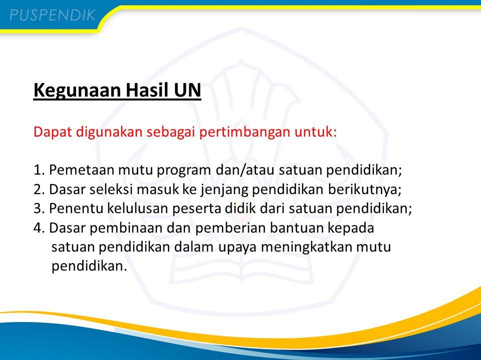 Kegunaan Hasil UN Dapat digunakan sebagai pertimbangan untuk: 1. Pemetaan mutu program dan/atau satuan pendidikan; 2. Dasar seleksi masuk ke jenjang p