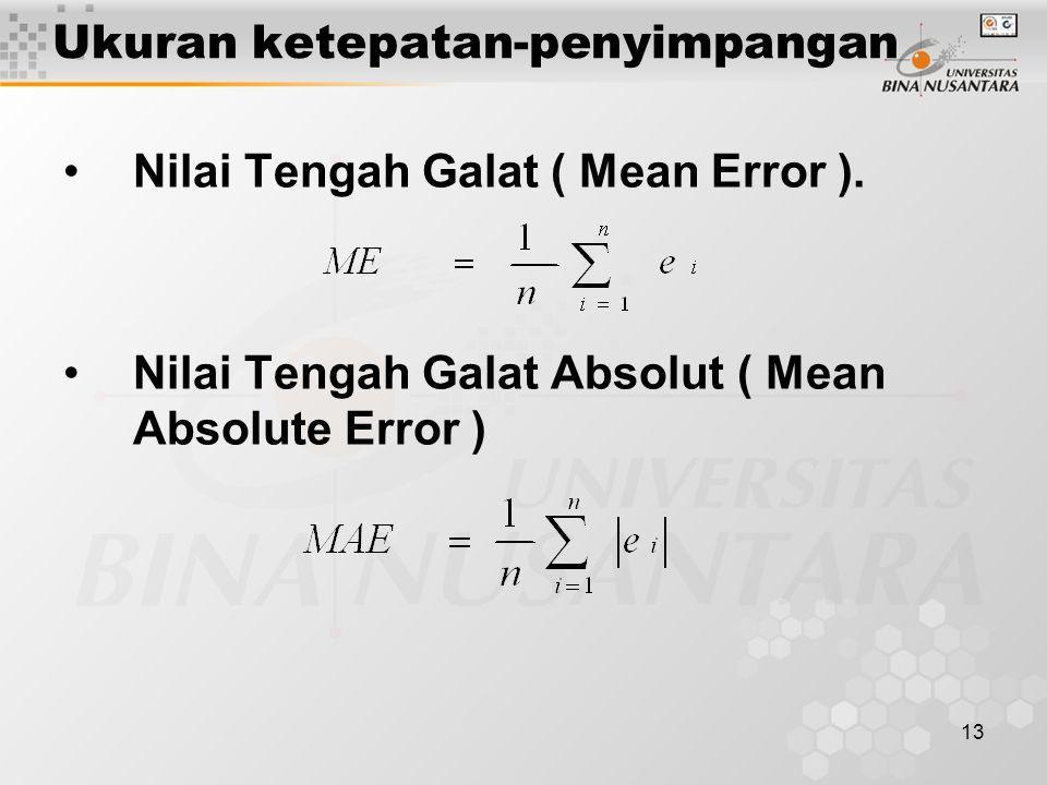 13 Ukuran ketepatan-penyimpangan Nilai Tengah Galat ( Mean Error ).