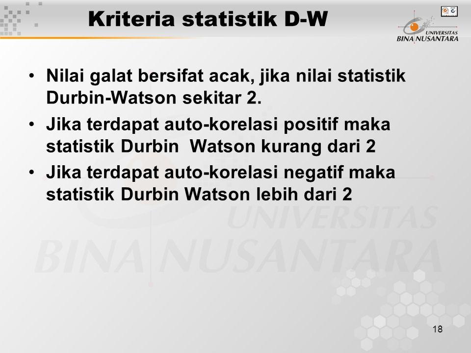 18 Kriteria statistik D-W Nilai galat bersifat acak, jika nilai statistik Durbin-Watson sekitar 2. Jika terdapat auto-korelasi positif maka statistik