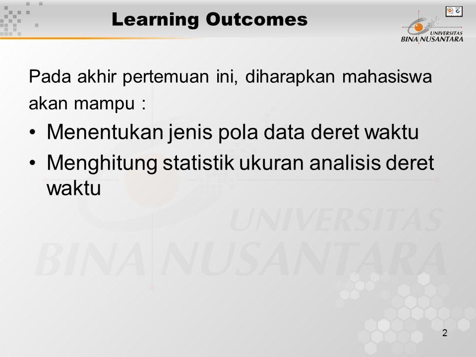 3 Outline Materi Jenis pola data deret waktu Stasioner, trend, musiman, siklis Statistik ukuran ketepatan Ukuran relatif,auto-korelasi