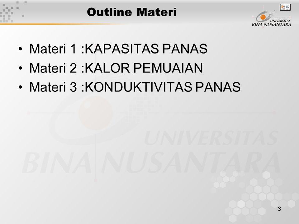 3 Outline Materi Materi 1 :KAPASITAS PANAS Materi 2 :KALOR PEMUAIAN Materi 3 :KONDUKTIVITAS PANAS