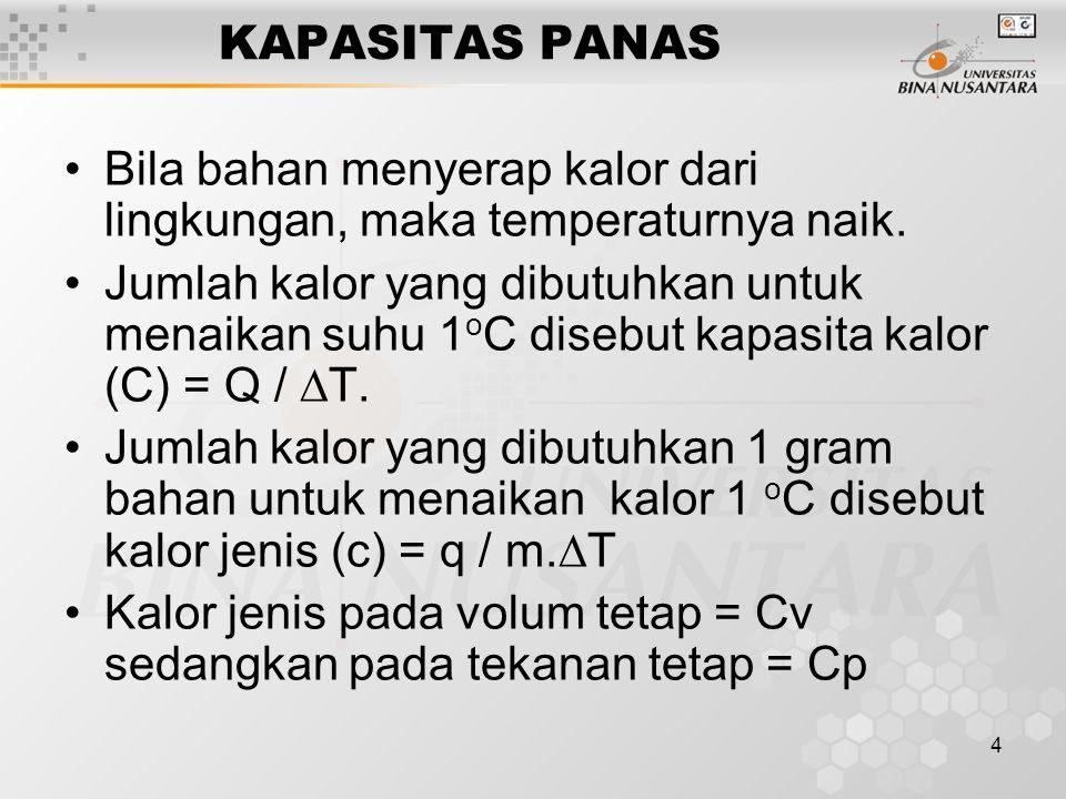 4 KAPASITAS PANAS Bila bahan menyerap kalor dari lingkungan, maka temperaturnya naik.