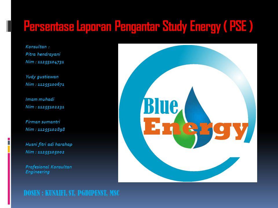 Persentase Laporan Pengantar Study Energy ( PSE ) Konsultan : Pitra hendrayani Nim : 11255104731 Yudy gustiawan Nim : 11255100671 Imam muhadi Nim : 11