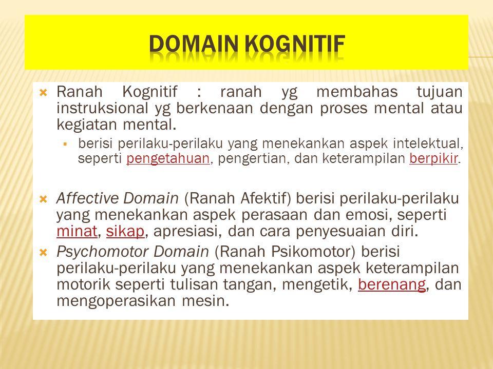  Ranah Kognitif : ranah yg membahas tujuan instruksional yg berkenaan dengan proses mental atau kegiatan mental.