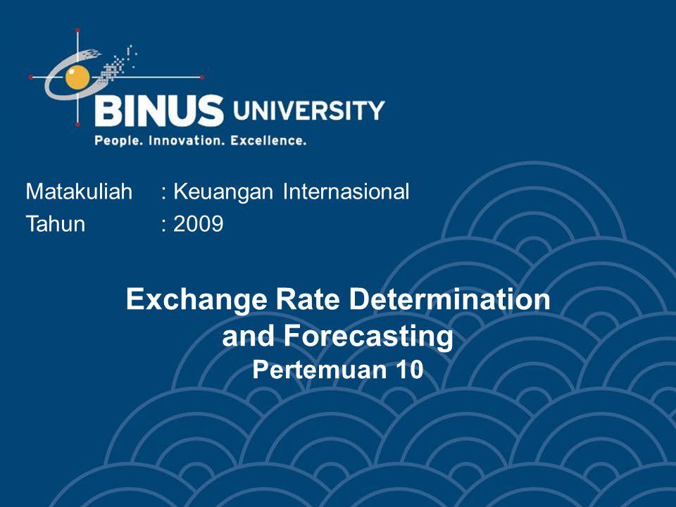 Exchange Rate Determination and Forecasting Pertemuan 10 Matakuliah: Keuangan Internasional Tahun: 2009