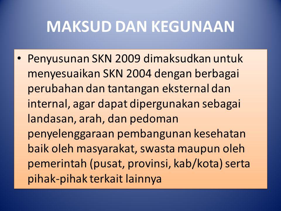 MAKSUD DAN KEGUNAAN Penyusunan SKN 2009 dimaksudkan untuk menyesuaikan SKN 2004 dengan berbagai perubahan dan tantangan eksternal dan internal, agar d