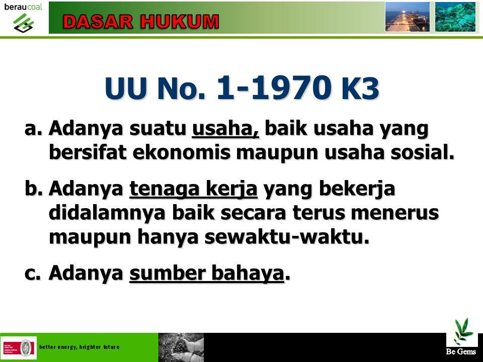 4/25/20156 UU No. 1-1970 K3 Bahwa setiap tenaga kerja berhak mendapat perlindungan atas keselamatannya dalam melakukan pekerjaan untuk kesejahteraan h
