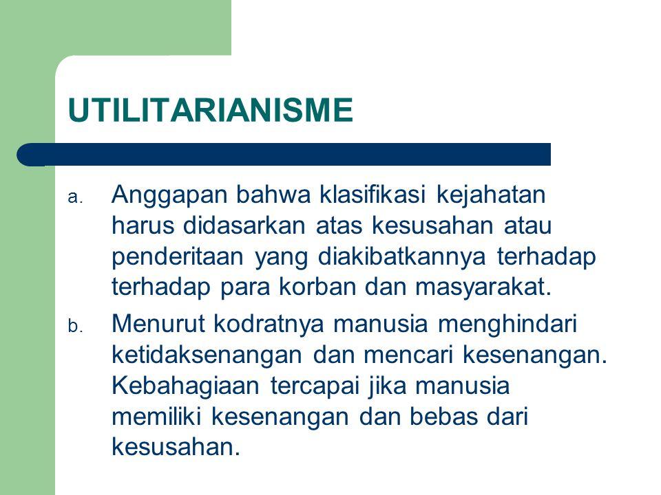UTILITARIANISME a. Anggapan bahwa klasifikasi kejahatan harus didasarkan atas kesusahan atau penderitaan yang diakibatkannya terhadap terhadap para ko