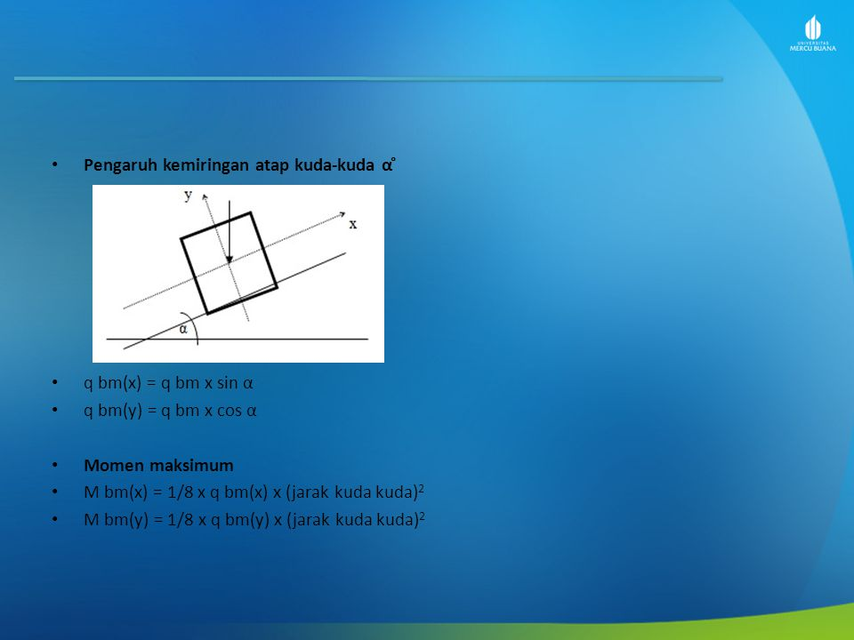 Pengaruh kemiringan atap kuda-kuda α ̊ q bm(x) = q bm x sin α q bm(y) = q bm x cos α Momen maksimum M bm(x) = 1/8 x q bm(x) x (jarak kuda kuda) 2 M bm