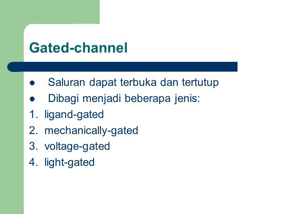 Gated-channel Saluran dapat terbuka dan tertutup Dibagi menjadi beberapa jenis: 1. ligand-gated 2. mechanically-gated 3. voltage-gated 4. light-gated