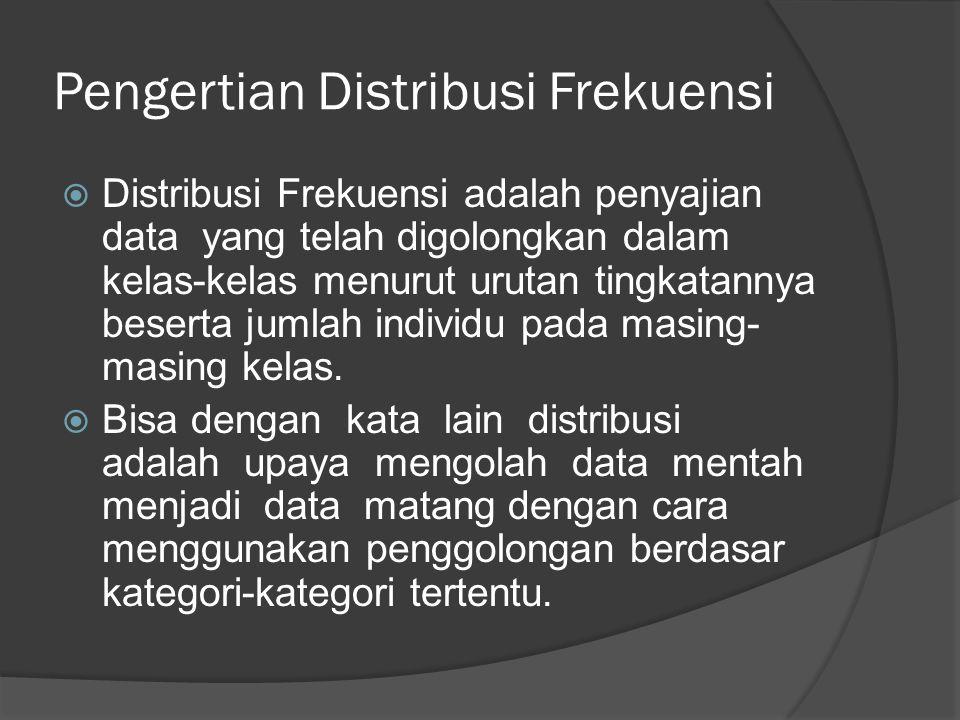 Pengertian Distribusi Frekuensi  Distribusi Frekuensi adalah penyajian data yang telah digolongkan dalam kelas-kelas menurut urutan tingkatannya beserta jumlah individu pada masing- masing kelas.