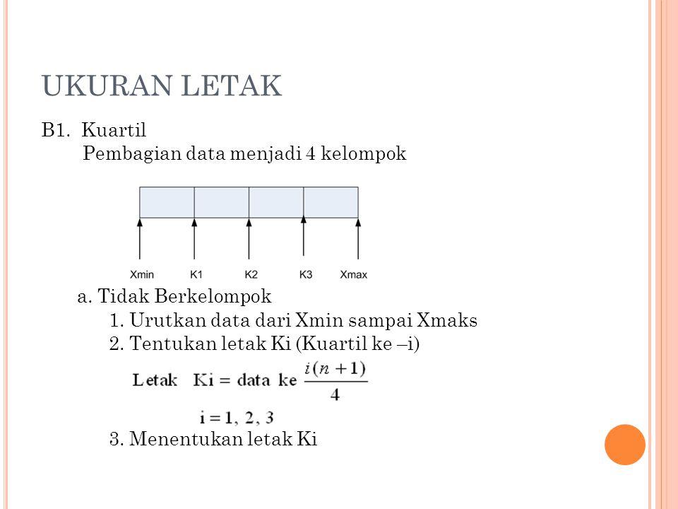 UKURAN LETAK B1. Kuartil Pembagian data menjadi 4 kelompok a. Tidak Berkelompok 1. Urutkan data dari Xmin sampai Xmaks 2. Tentukan letak Ki (Kuartil k