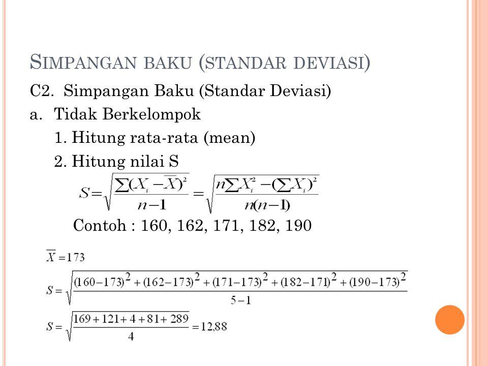 S IMPANGAN BAKU ( STANDAR DEVIASI ) C2. Simpangan Baku (Standar Deviasi) a.Tidak Berkelompok 1. Hitung rata-rata (mean) 2. Hitung nilai S Contoh : 160