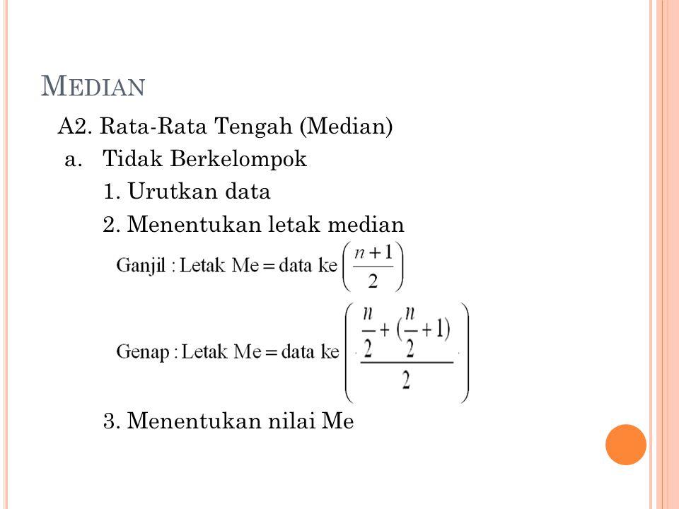 M EDIAN A2. Rata-Rata Tengah (Median) a.Tidak Berkelompok 1. Urutkan data 2. Menentukan letak median 3. Menentukan nilai Me