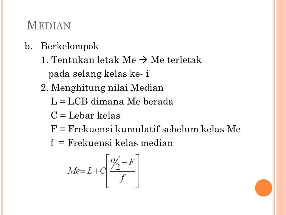 M EDIAN b.Berkelompok 1. Tentukan letak Me  Me terletak pada selang kelas ke- i 2. Menghitung nilai Median L = LCB dimana Me berada C = Lebar kelas F