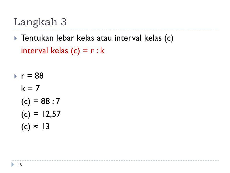 Langkah 3 10  Tentukan lebar kelas atau interval kelas (c) interval kelas (c) = r : k  r = 88 k = 7 (c) = 88 : 7 (c) = 12,57 (c) ≈ 13