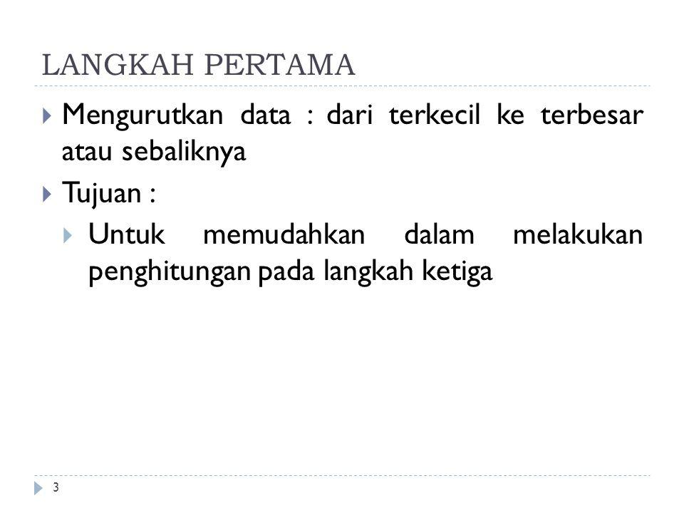 LANGKAH PERTAMA 3  Mengurutkan data : dari terkecil ke terbesar atau sebaliknya  Tujuan :  Untuk memudahkan dalam melakukan penghitungan pada langk