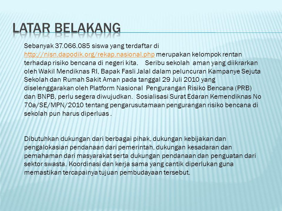 Sebanyak 37.066.085 siswa yang terdaftar di http://nisn.dapodik.org/rekap.nasional.php merupakan kelompok rentan terhadap risiko bencana di negeri kita.