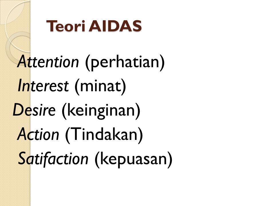 Teori AIDAS Attention (perhatian) Interest (minat) Desire (keinginan) Action (Tindakan) Satifaction (kepuasan)