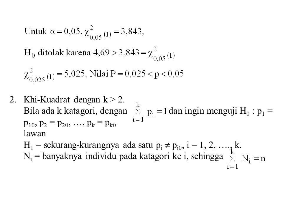 2.Khi-Kuadrat dengan k > 2. Bila ada k katagori, dengan dan ingin menguji H 0 : p 1 = p 10, p 2 = p 20, …, p k = p k0 lawan H 1 = sekurang-kurangnya a