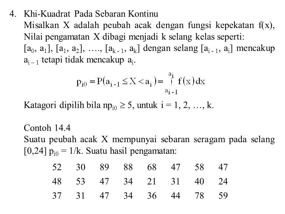 4.Khi-Kuadrat Pada Sebaran Kontinu Misalkan X adalah peubah acak dengan fungsi kepekatan f(x), Nilai pengamatan X dibagi menjadi k selang kelas sepert