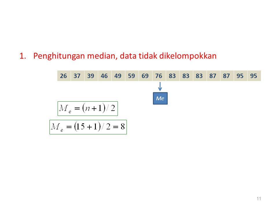 1.Penghitungan median, data tidak dikelompokkan 11 263739464959697683 87 95 Me