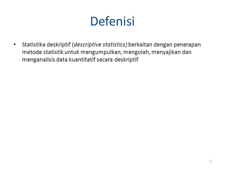 Defenisi Statistika deskriptif (descriptive statistics) berkaitan dengan penerapan metode statistik untuk mengumpulkan, mengolah, menyajikan dan menganalisis data kuantitatif secara deskriptif 2