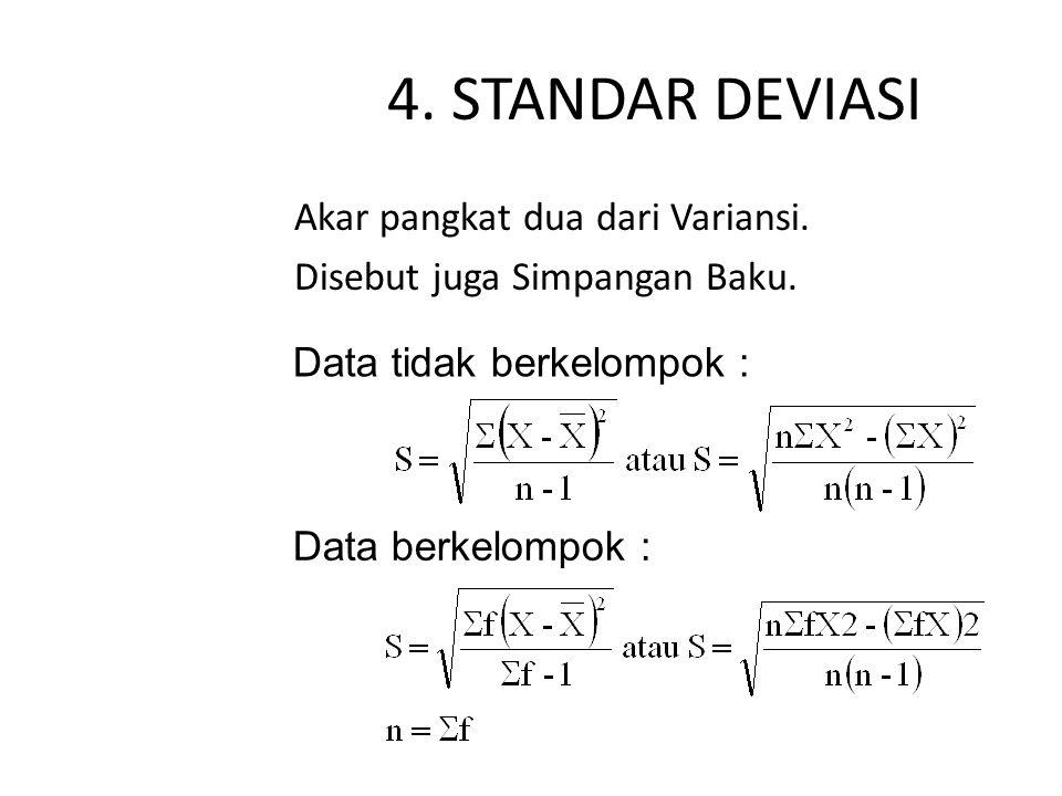 4.STANDAR DEVIASI Akar pangkat dua dari Variansi.